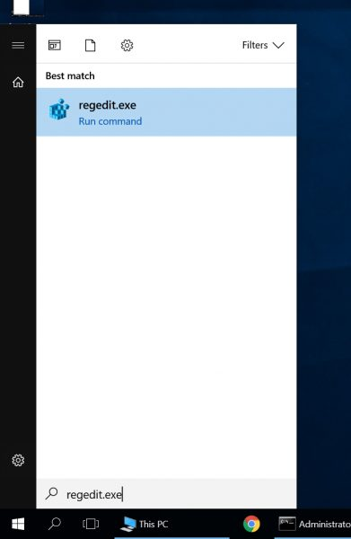 Launch regedit.exe from Windows 10