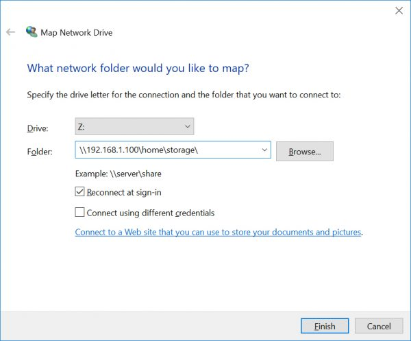 Map network drive for NFS on Windows