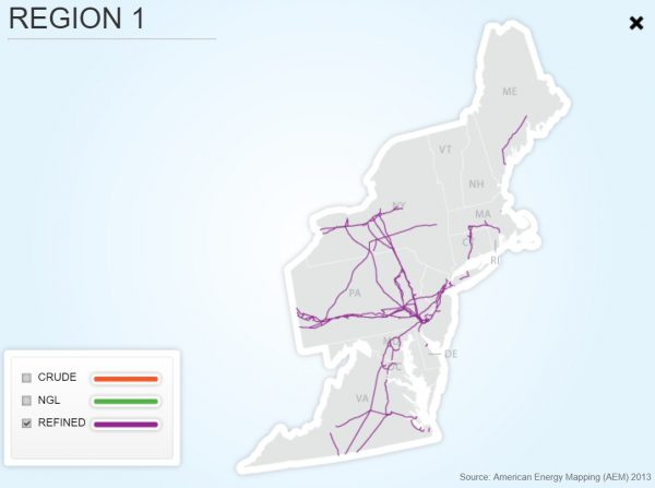 new england refined pipeline map
